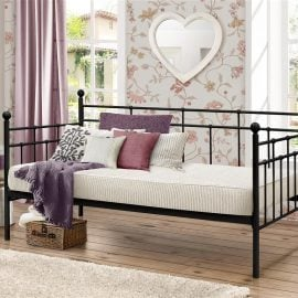 The Birlea Lyon Steel Daybed gives a true feel of sophistication. With underneath space for a trundle, this bed provides a great space-saving solution for smaller rooms. The Lyon bed is constructed from steel with a sprung slatted base to give natural bounce, adjusting to where pressure is most exerted to provide greater comfort.
