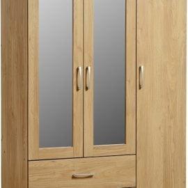 charlene-3-door-2-drawer-mirrored-wardrobe-oak