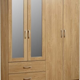 charlene-4-door-2-drawer-mirrored-wardrobe-oak