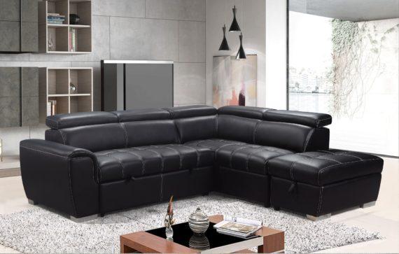Sicily Corner Sofa Bed Set Black