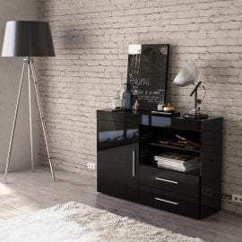 edgeware-solid-colour-1-door-2-drawer-sideboard-black