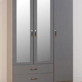 niamh-3-door-2-drawer-mirrored-wardrobe-grey