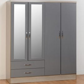 niamh-4-door-2-drawer-mirrored-wardrobe-grey