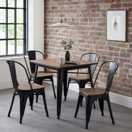 The Grafton Chair is finished in a mocha elm and black powder coated steel. Offering an industrial, retro design the Grafton Chair offers a minimalistic